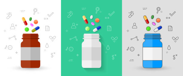 Colorful pills with pill bottle and related icons Colorful pills, tablets and capsules with pill bottle and related medical line icons. Vector illustration set in different style and design. nutritional supplement stock illustrations