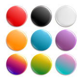 Colorful pin badges. Badge icon button with pin. Glossy white and color circle 3d pushing buttons, disc brooch isolated vector set