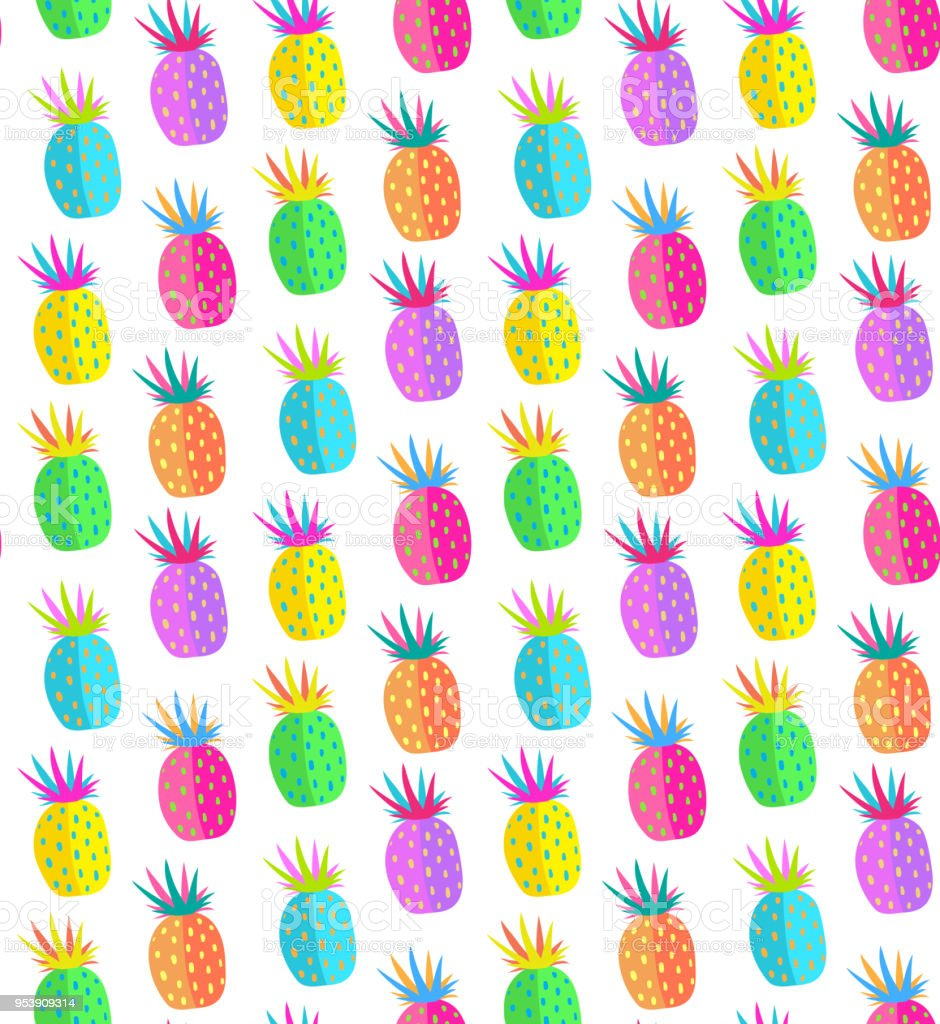 Colorful Pineapple Seamless Pattern Design Royalty Free Stock Vector Art