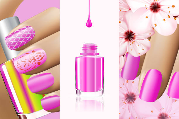 Colorful pink collection of nail designs for summer and spring. Vector 3d illustration. Nailpolish lacquer ads, nail polish splatter on white background. Manicure vogue ads for design Colorful pink collection of nail designs for summer and spring. Vector 3d illustration. Nailpolish lacquer ads, nail polish splatter on white background. Manicure vogue ads for design. white nail polish stock illustrations