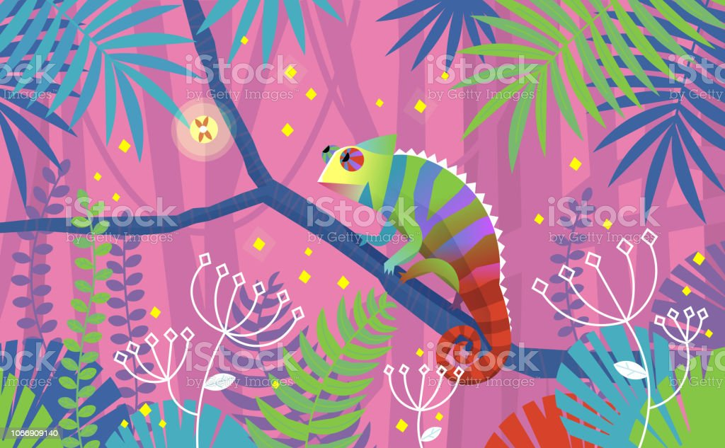 Colorful pink illustration with chameleon lizard sitting on a branch in tropical jungle. Surrounded by imaginary plants - Royalty-free Animal stock vector