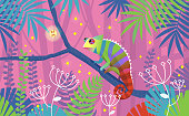 Colorful pink illustration with chameleon lizard sitting on a branch in tropical jungle. The animal is surrounded by imaginary plants and leaves. Vector illustration