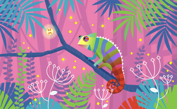 colorful pink illustration with chameleon lizard sitting on a branch in tropical jungle. surrounded by imaginary plants - chameleon stock illustrations