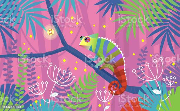 Colorful Pink Illustration With Chameleon Lizard Sitting On A Branch In Tropical Jungle Surrounded By Imaginary Plants Stock Illustration - Download Image Now