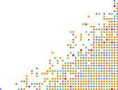 colorful pixels on a corner frame design