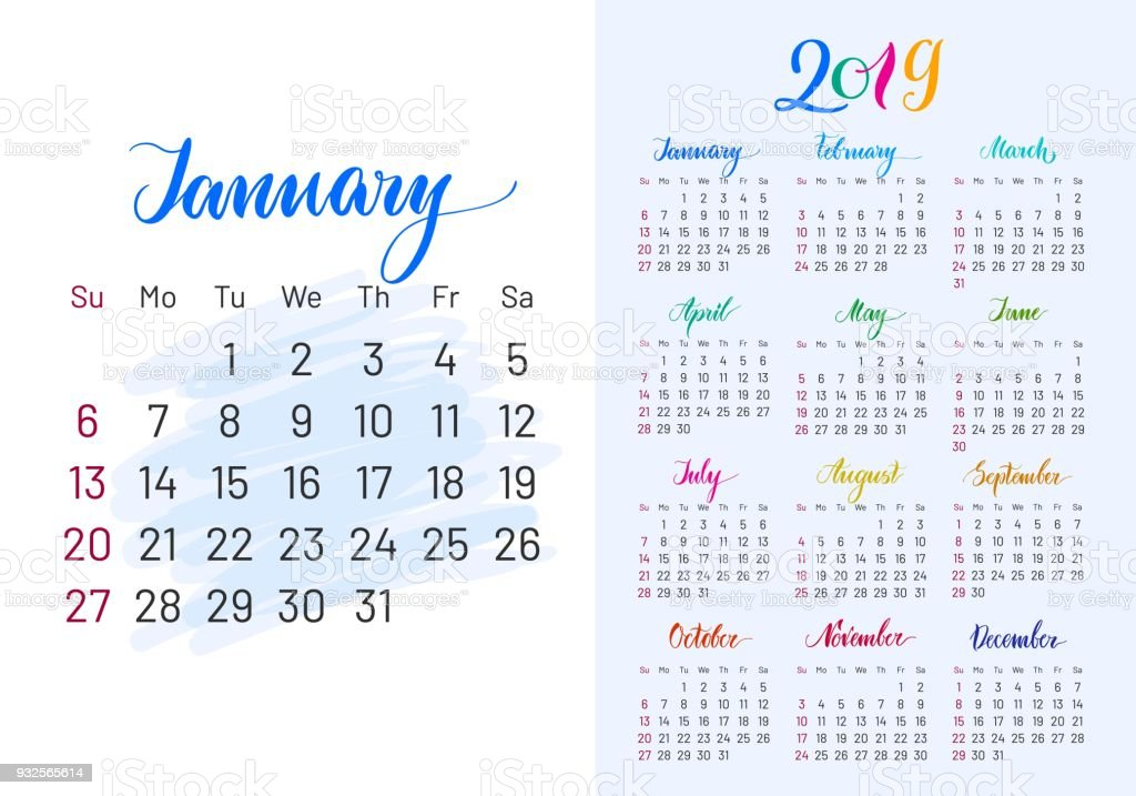 Colorful planner, 2019, January separately vector art illustration