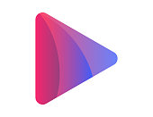 istock Colorful play media button. Icon of video and audio player in realistic gradient. Pause or record movie illustration. Vector EPS 10 1219614635