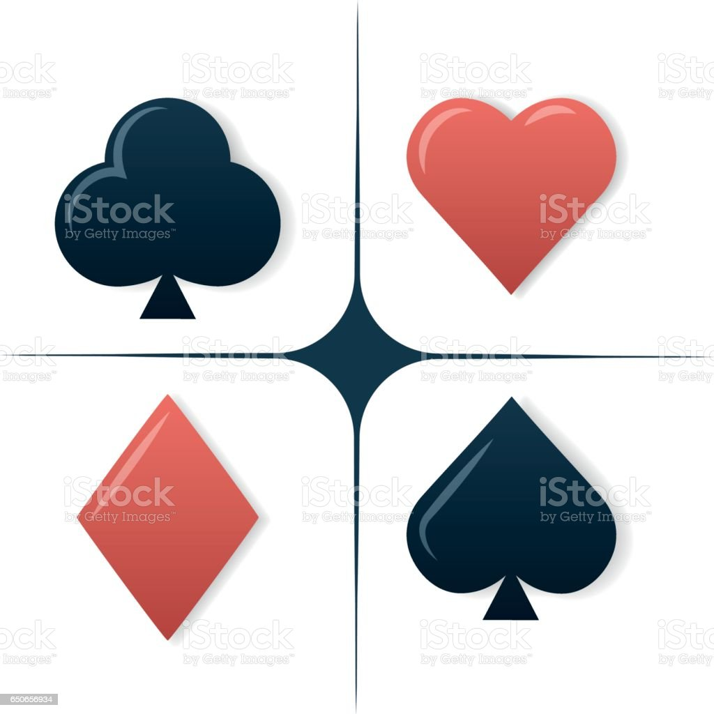 Colorful Playing Cards Symbols Set On White Background Stock Vector