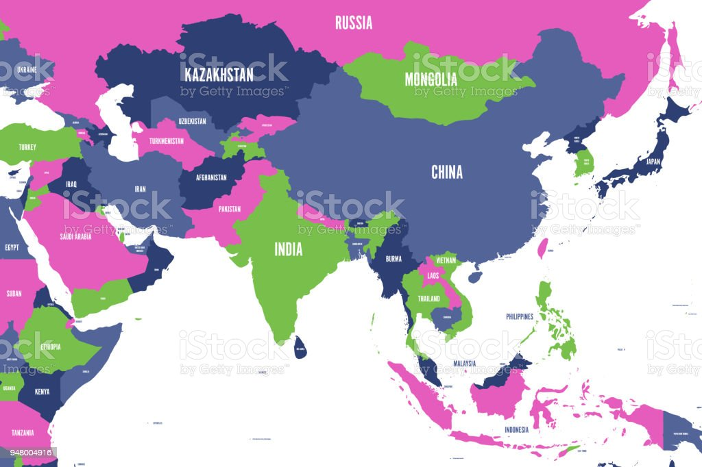 Colorful Political Map Of Western Southern And Eastern Asia Simple ...