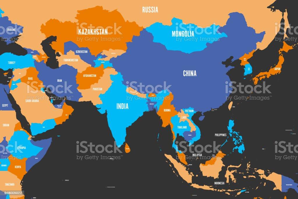 Politische Karte Asien.Bunte Politische Karte Der Westlichen Südlichen Und östlichen Asien