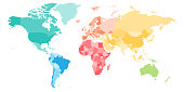 Colorful political map of World divided into six continents. Blank vector map in rainbow spectrum colors.