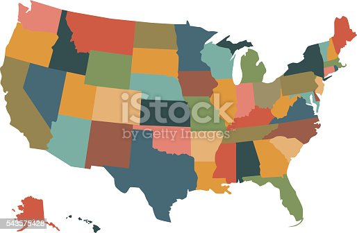 Colorful political USA map isolated on a white background. Vector map of the United States