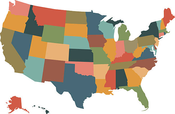 Colorful political USA map vector art illustration
