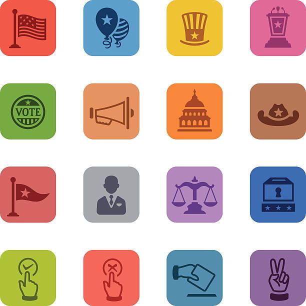 красочные политика икона набор - presidential debate stock illustrations