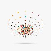 Colorful polka dots design element