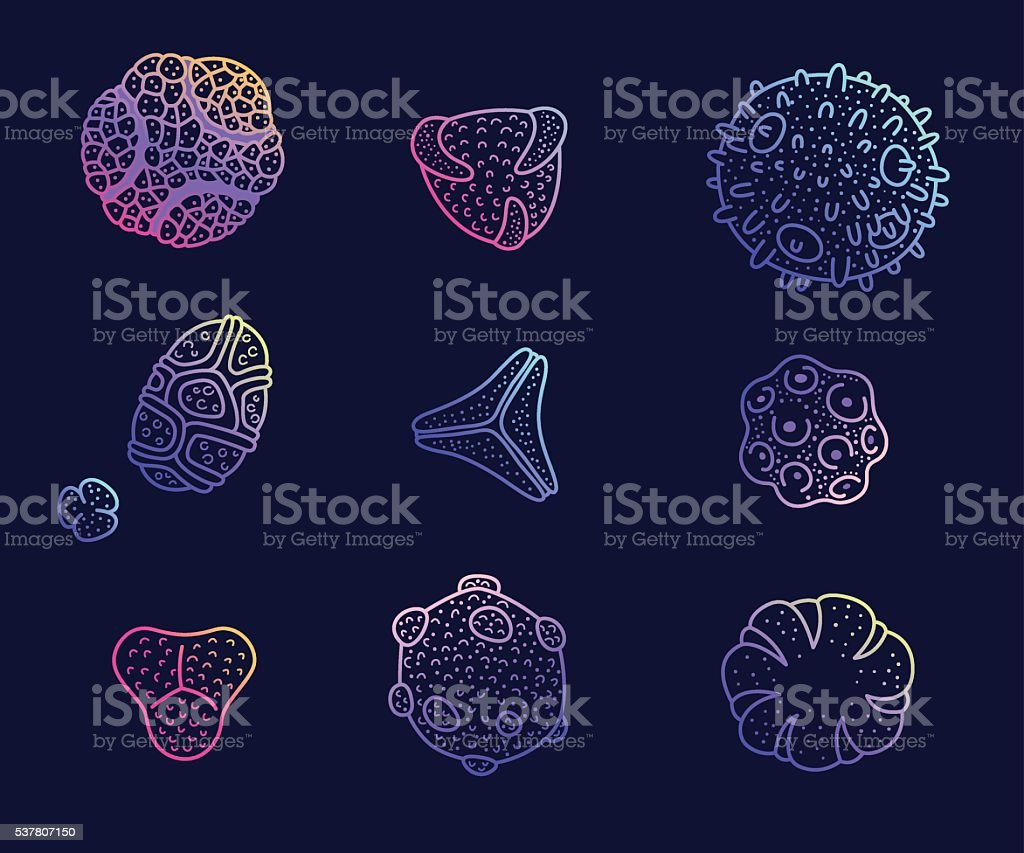 Colorful pollen spores set. vector art illustration