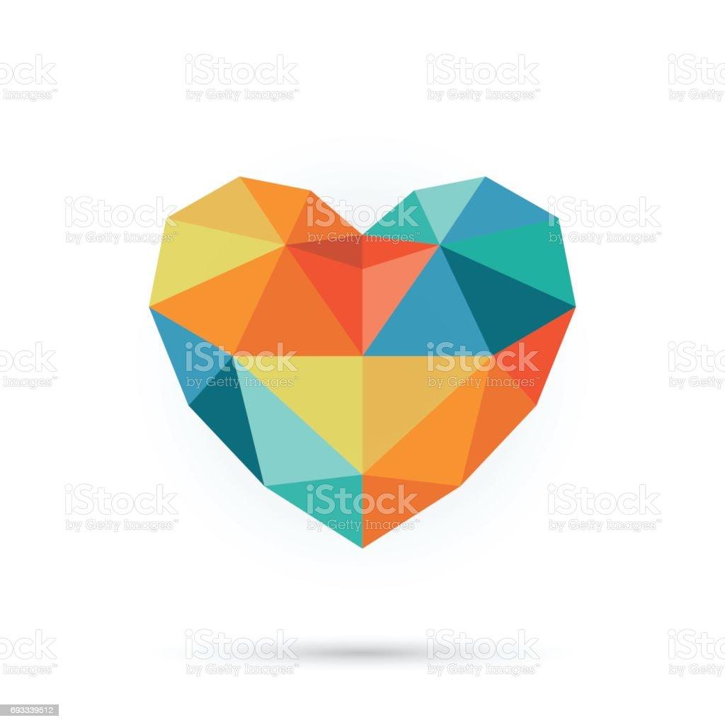 Colorful polygon heart. vector art illustration