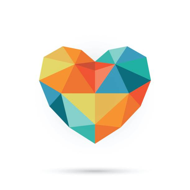 Corazón colorido polígono. - ilustración de arte vectorial