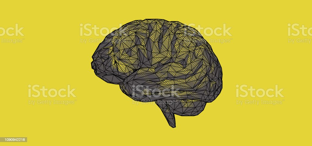 Colorful polygonal brain graphic design on yellow BG royalty-free colorful polygonal brain graphic design on yellow bg stock vector art & more images of abstract