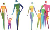 Vector Illustration of Colorful Conceptual Polygonal Family with transparency in eps10
