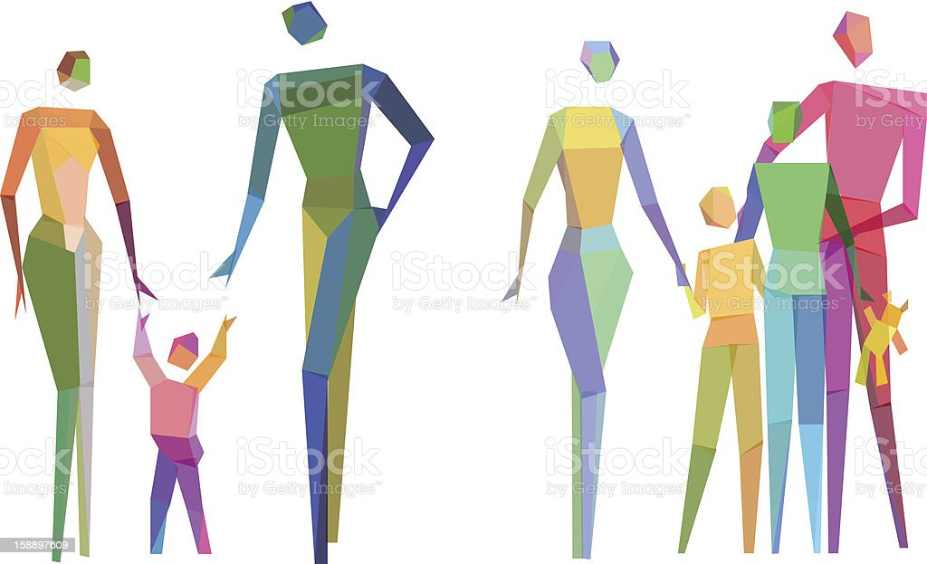 Colorful Polygonal family vector art illustration