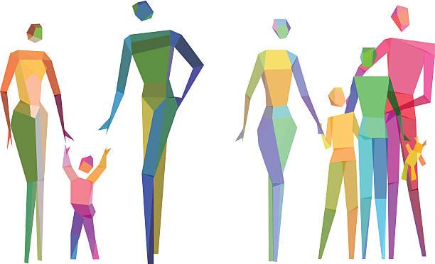 Colorful Polygonal family vector art illustration