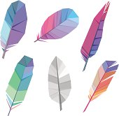 Vector Illustration of Colorful polygonal feather whith transparency in eps 10