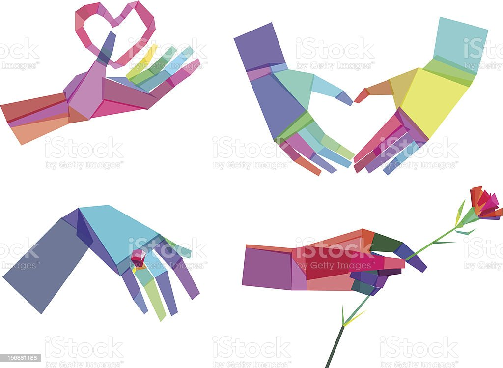 Colorful Polygonal Hands royalty-free colorful polygonal hands stock vector art & more images of abstract