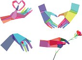 Vector Illustration of Colorful Polygonal Hands with transparency in eps10
