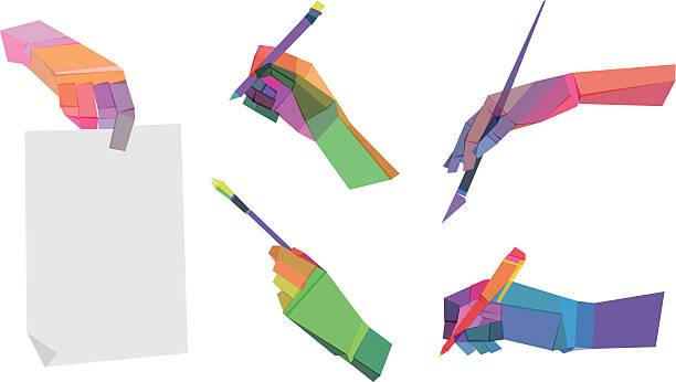 Polygonal mains colorées - Illustration vectorielle