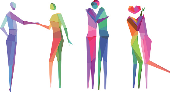 Colorful polygonal people sketches