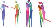 Vector Illustration of Colorful Conceptual Polygonal People with transparency in eps10