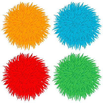 Colorful pom poms vector cartoon set isolated on a white background.