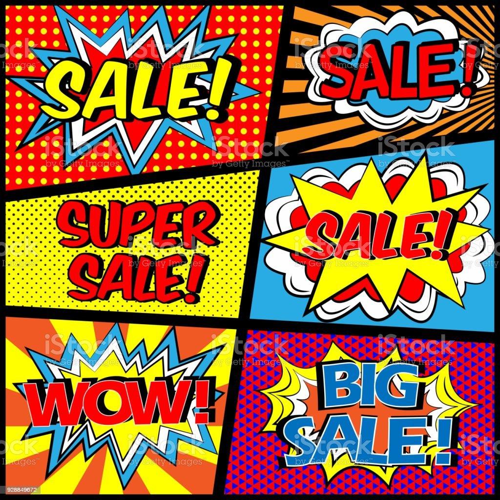 colorful pop art comic sale discount promotion banner big sale