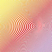 Colorful Line art halftone pattern of concentric circles. Optical illusion, is it concave or convex