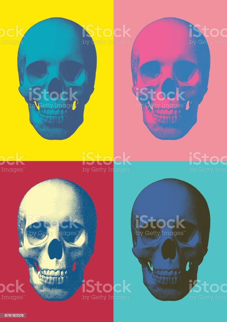 Colorful pop art skull in front view vector art illustration