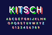 Rounded colorful retro style 3d font vector illustration