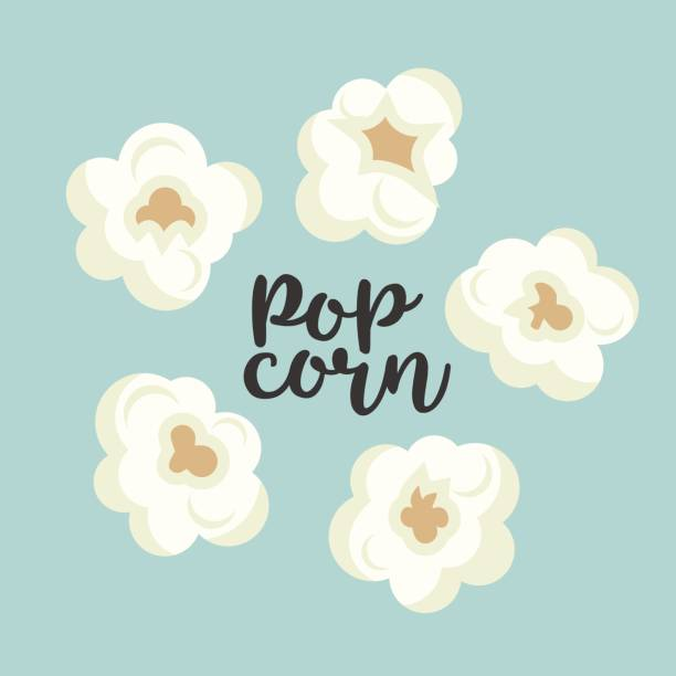 stockillustraties, clipart, cartoons en iconen met kleurrijke popcorn items vector schattig set - popcorn