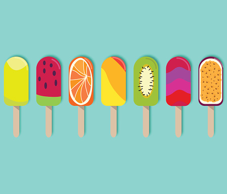 Colorful popsicle ice cream with different topping