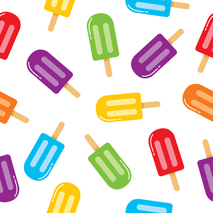 Colorful Popsicles Seamless Pattern
