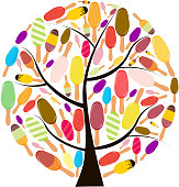 Colorful popsicles vector illustration on tree