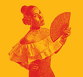 Colorful mezzotint portrait of a Hispanic Woman Latin Dancing