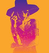 Colorful mezzotint portrait of a Hispanic Woman Salsa dancer