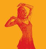 Colorful engraved portrait of a Hispanic Woman Salsa Dancing