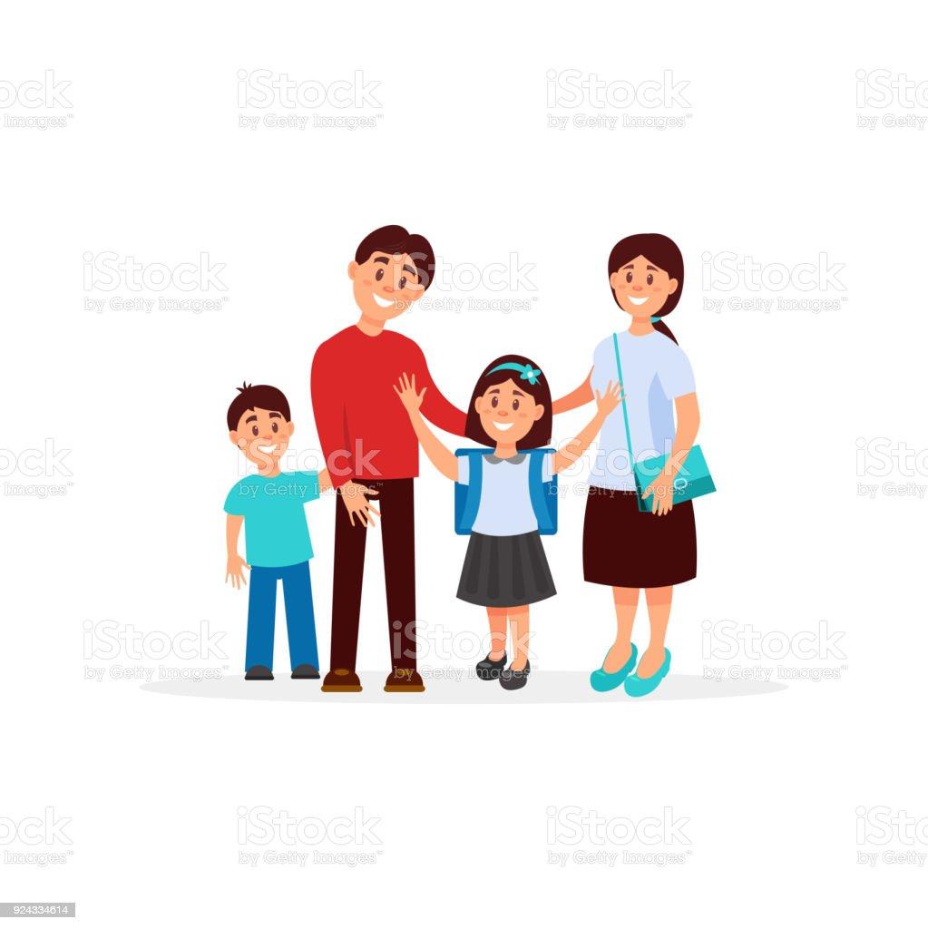Bunte Porträt Der Glückliche Familie Mit Mutter Vater Sohn Und ...