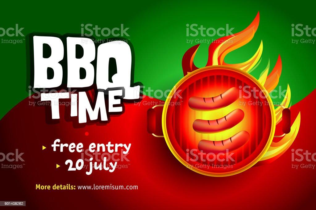 BBQ colorful poster design, party design, invitation, ad design. Barbecue emblem. BBQ template menu design. vector art illustration
