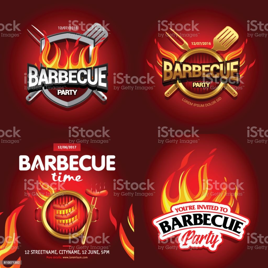BBQ 4 colorful poster designs, party design, invitation, ad design. Barbecue logo. BBQ template menu design. Barbecue Food flyer. Barbecue advertisement. vector art illustration