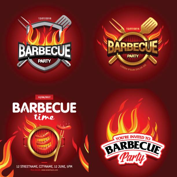 illustrations, cliparts, dessins animés et icônes de bbq 4 affiches colorées dessins, conception de la partie, invitation, conception ad. logo de barbecue. conception de menus barbecue modèle. dépliant de barbecue de nourriture. annonce du barbecue. - barbecue