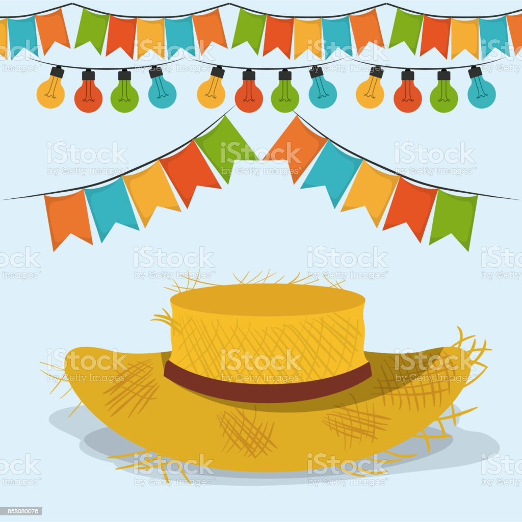 Colorful Poster Festa Junina With Starry Background With Hat And