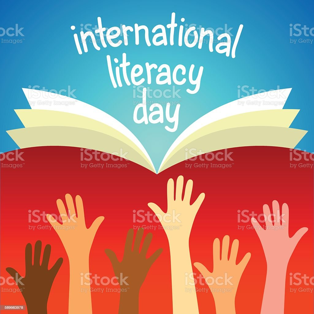 Colorful poster for International literacy day. vector art illustration